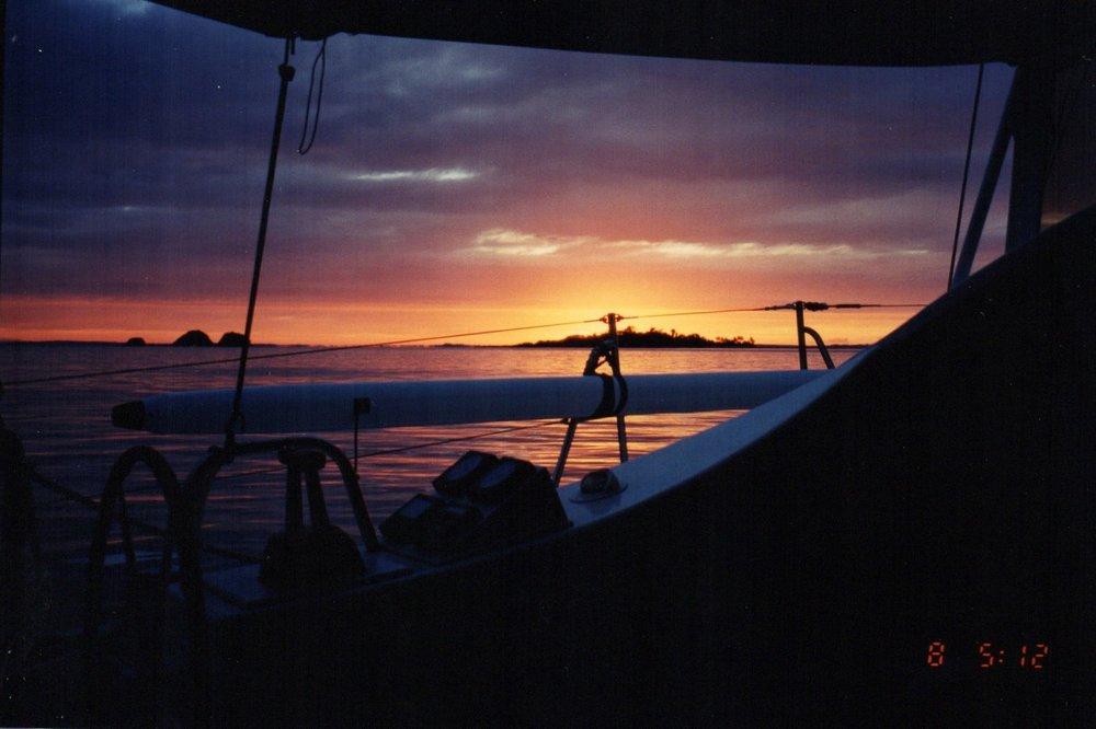 Farewell sunset from yacht
