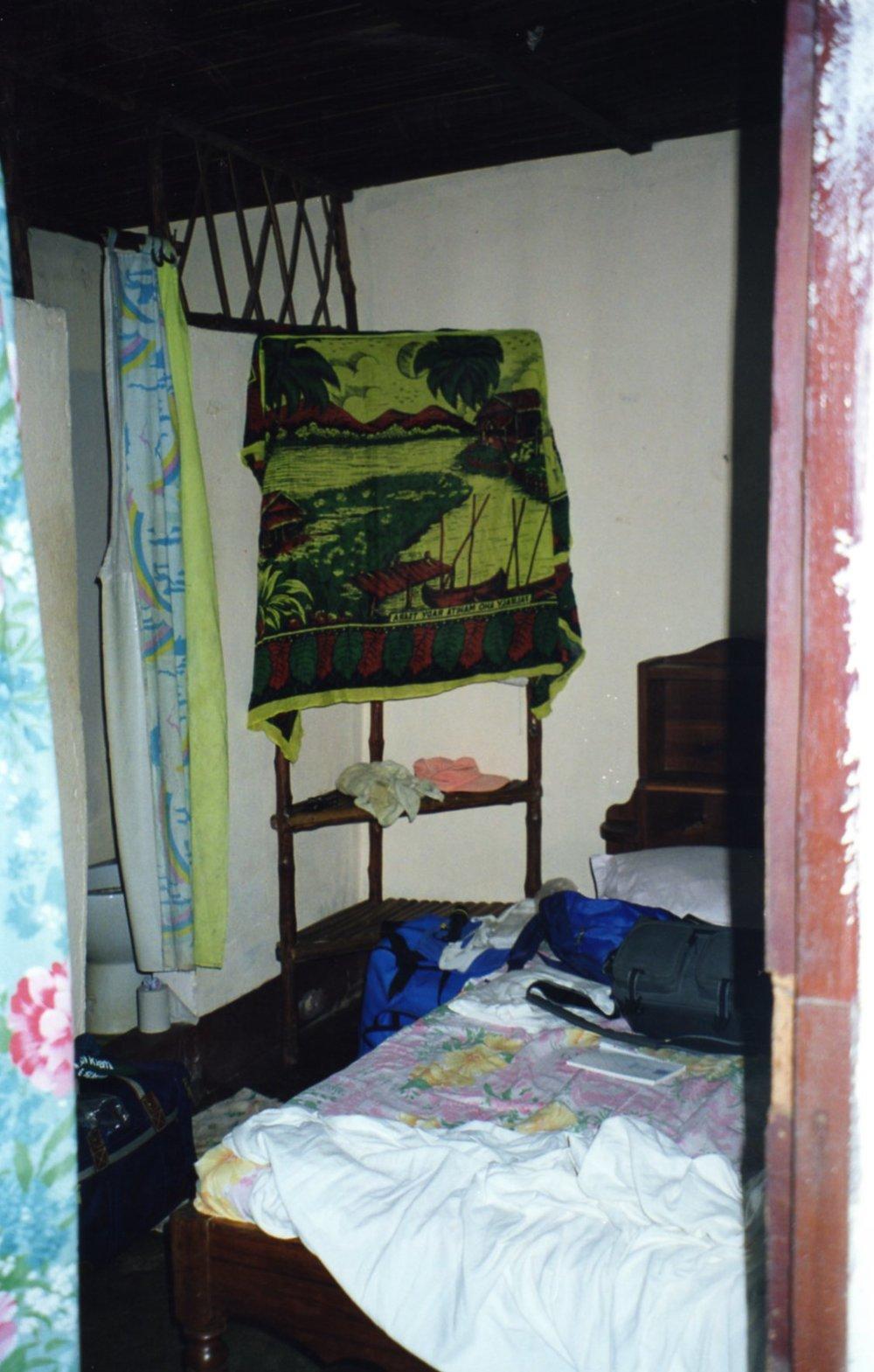 Take a peek through the curtains - no seat on the toilet