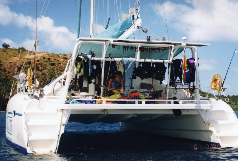 Drying dive gear and tuna in the sea breeze