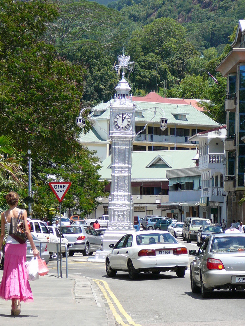Clock tower and street scene Victoria Seychelles