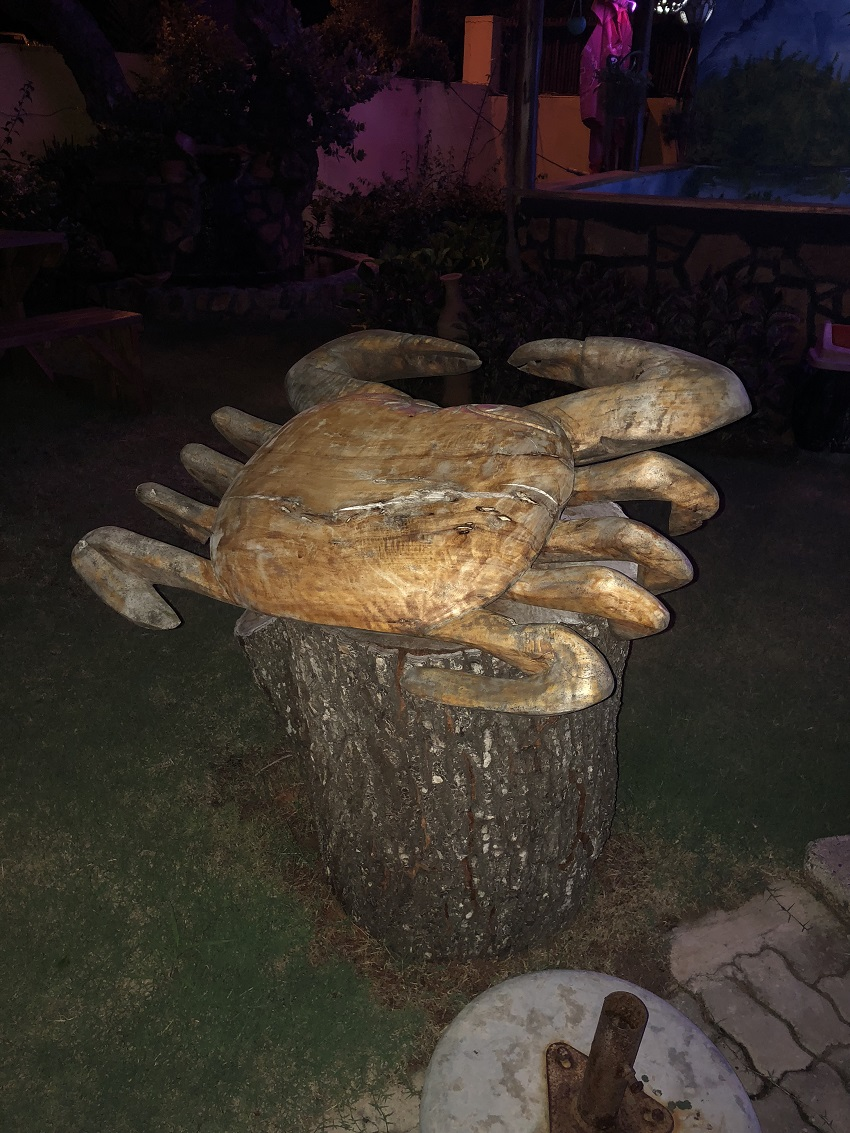 Crab wood carving at restaurant