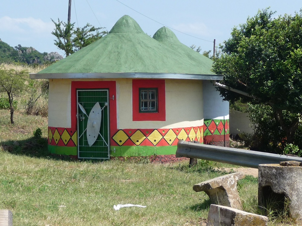 Traditional painted huts or rondawels outside Jozini