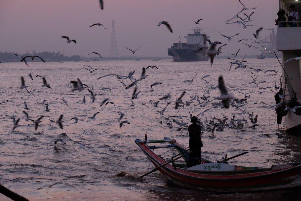 Busy harbour in Yangon, Myanmar - Gillian Mclaren