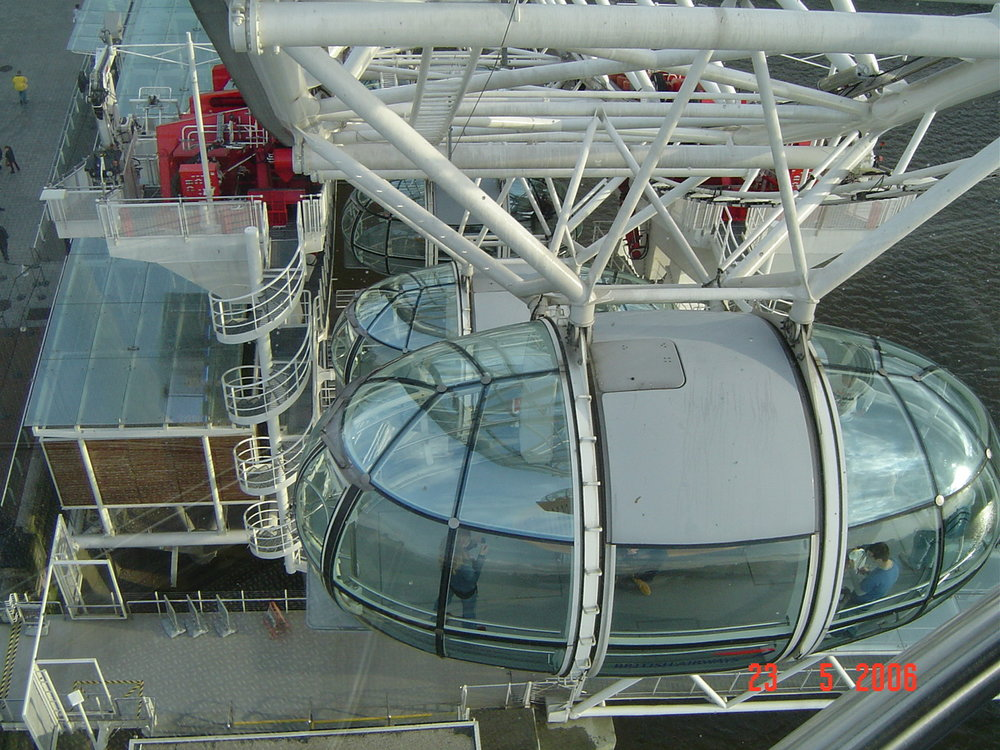 Looking down on a London Eye capsule