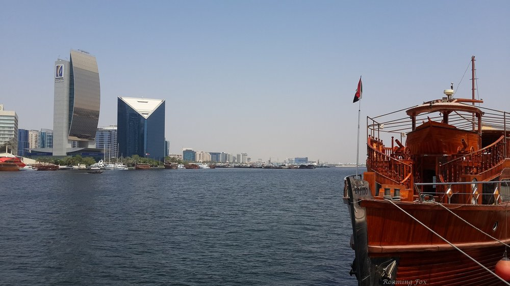 Arabian Wooden Dhow and contemporary architecture, Dubai creek