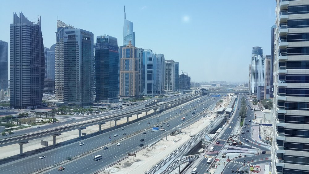 Metro rail running parallel to Sheikh Zayed Road