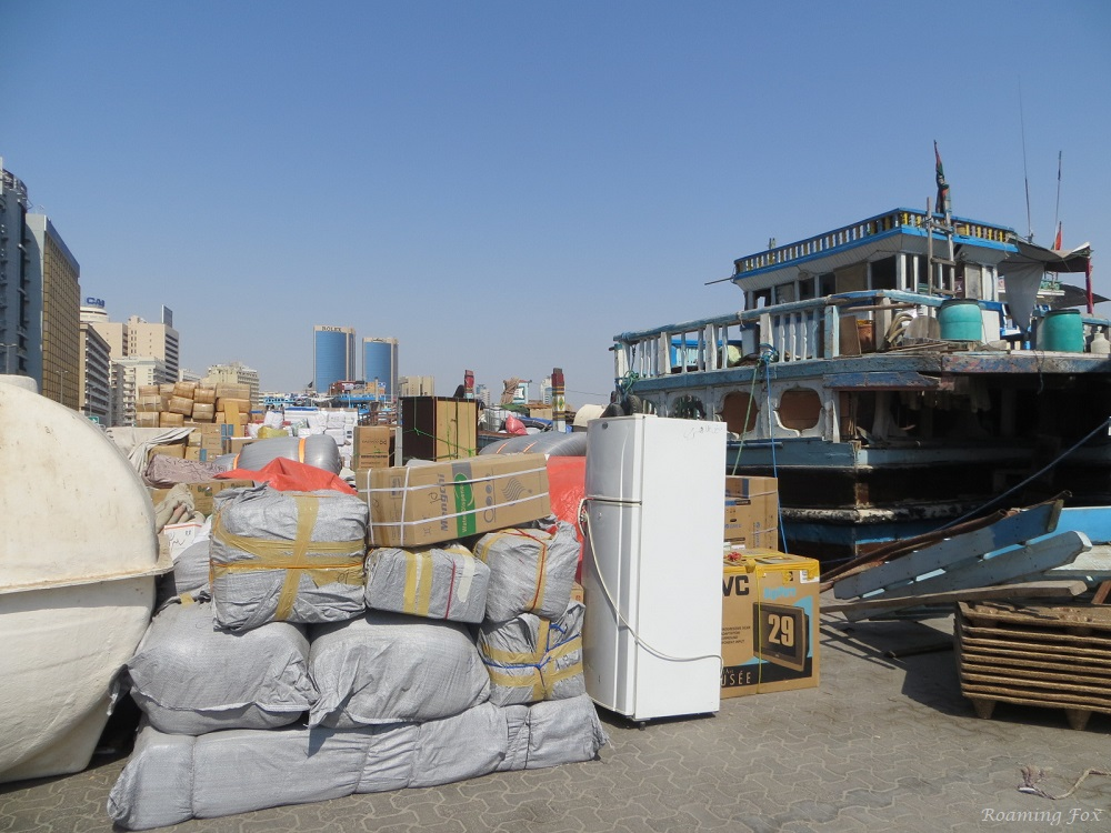Cargo to be loaded on traditional Arabian dhows