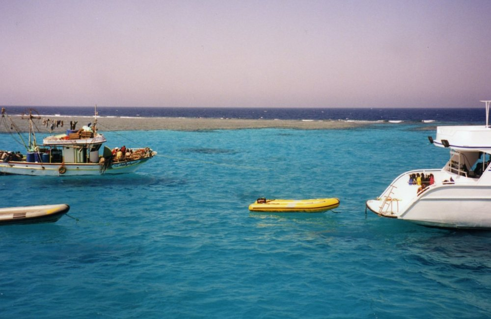 Mooring near an athol in the Red Sea