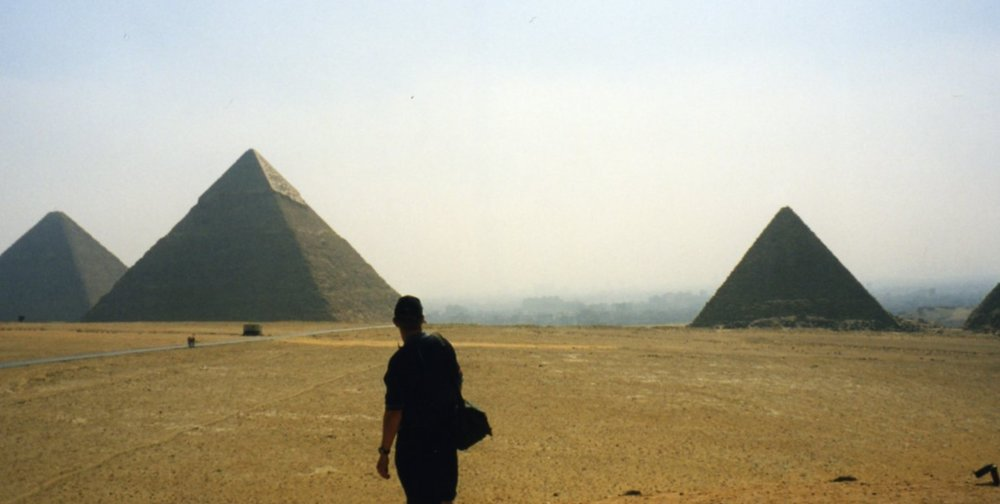 The Pyramids of Giza and Cairo in the background although too hazy to see