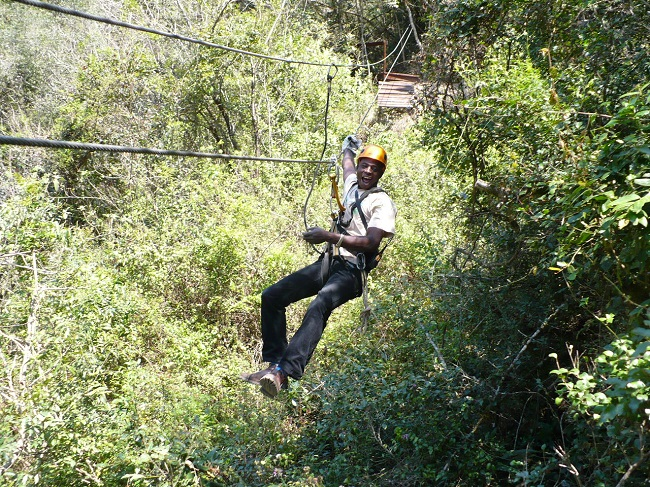 Tour guide on zipline Magoebaskloof.JPG