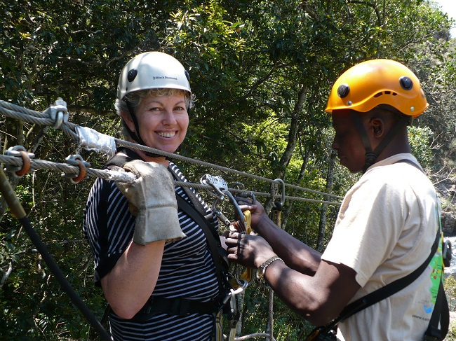 Clipping on to zipline Magoebaskloof.JPG