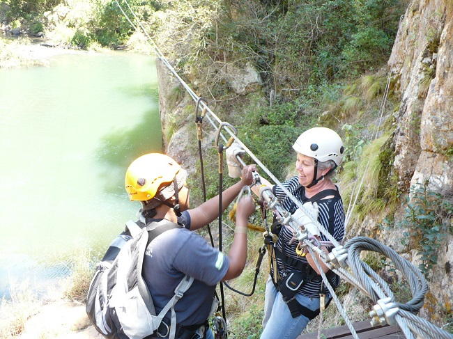 Magoebaskloof zipline Clipping on.JPG