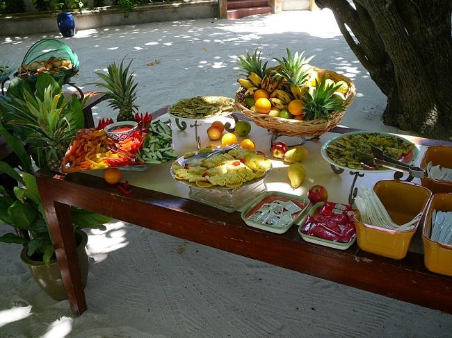 Fruit & snacks on table Maldives.JPG