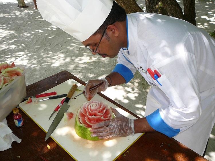 Fruit carving in progress Maldives.JPG