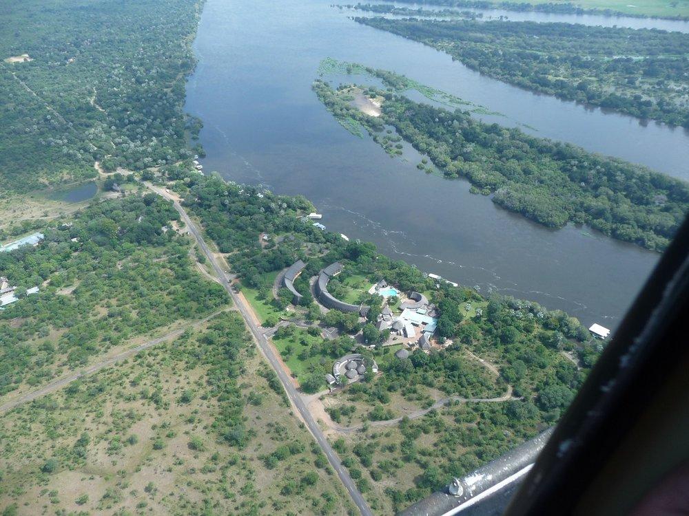 aZambezi River Lodge & Zambezi River from the air.JPG