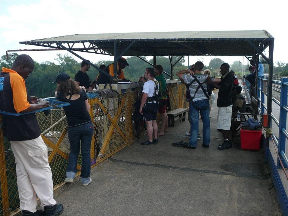 Bridge and platform for bungee jumping Victoria Falls bridge.JPG