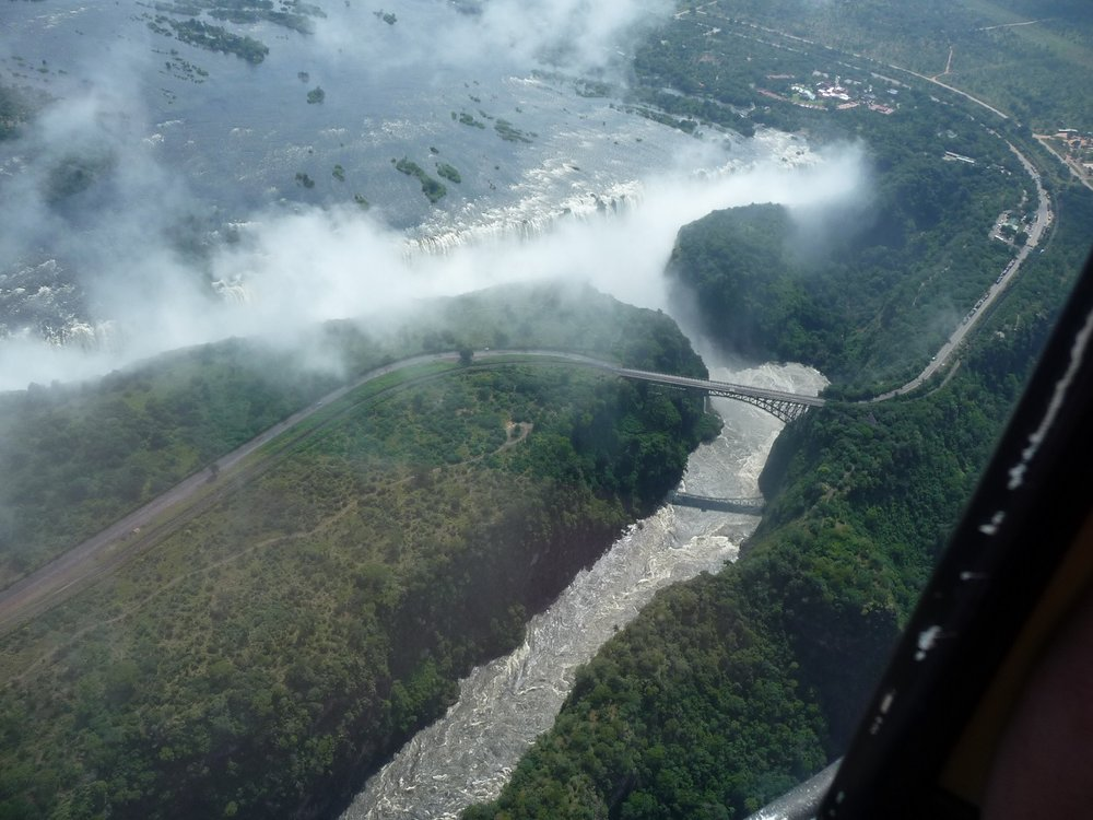 Victoria Falls, bridge and gorge from air