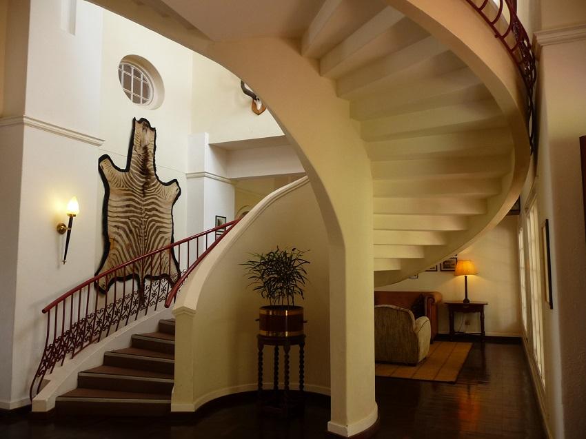 Victoria Falls Hotel spiral staircase & decor.JPG
