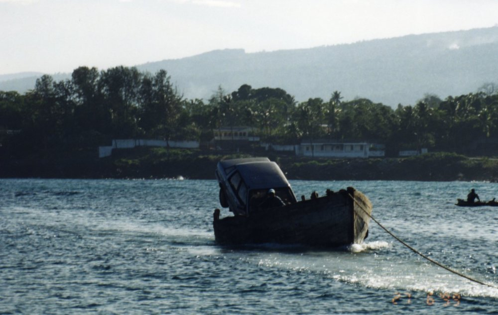 Car being transported at Comoros