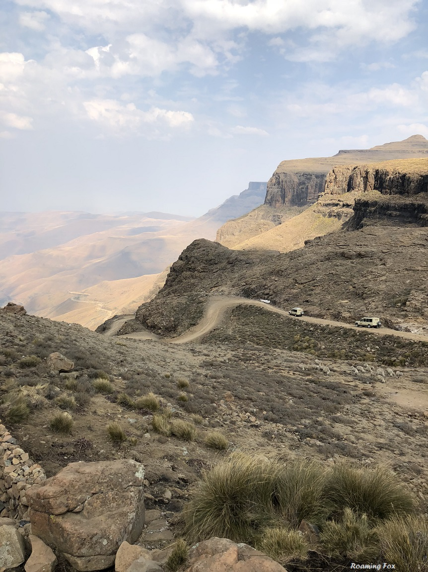 Vehicles driving down the Sani Pass