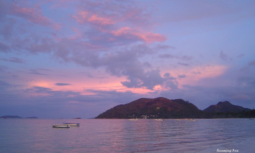 Muted colours over the sea at Praslin, Seychelles