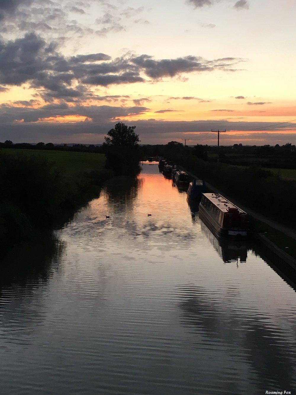 Sunset over canal UK.JPG