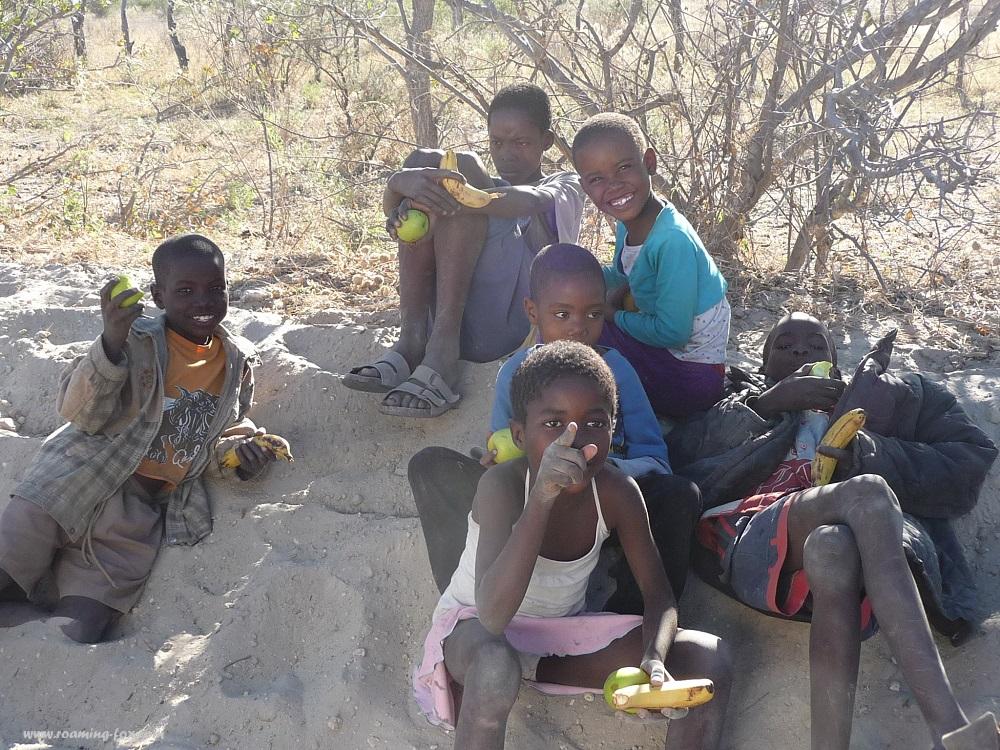 Eating fruit while watching us.