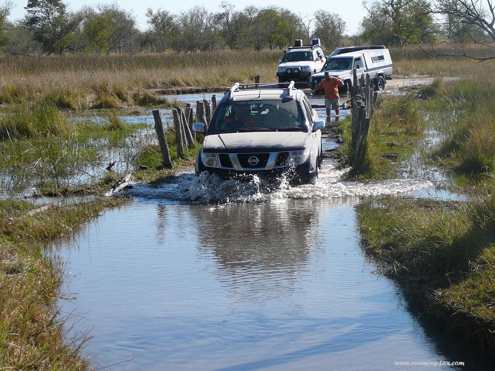 Driving over submerged bridge Moremi, Botswana