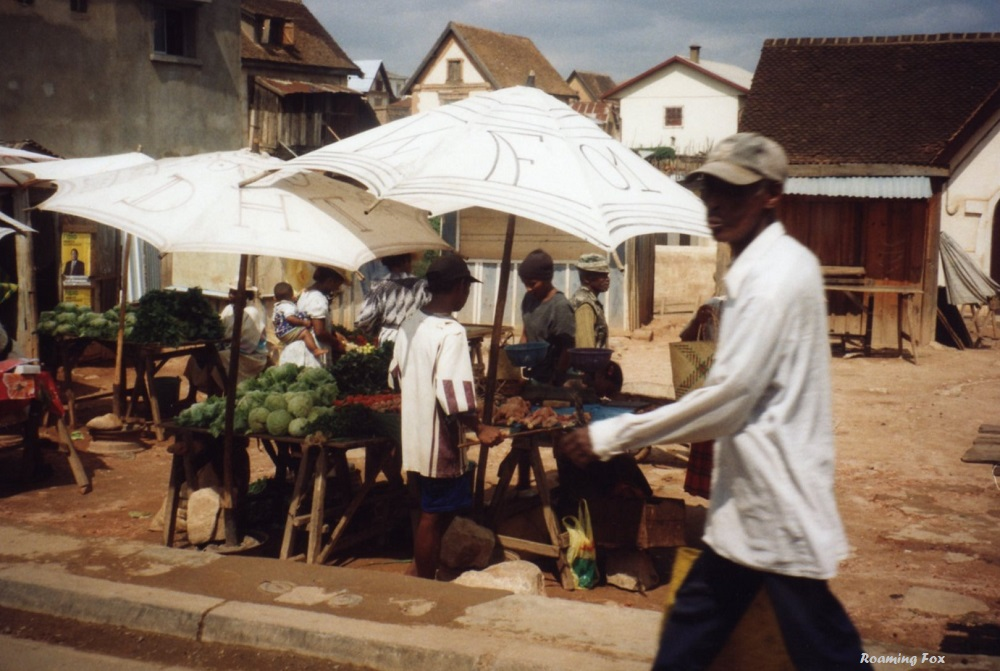 Selling fruit on the streets of Antananarivo, mainland Madagascar