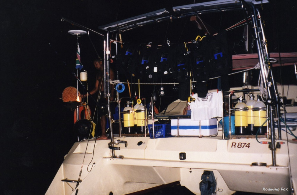 Having a 'braai' (barbeque) on board. The catamaran packed with dive gear and other paraphernalia