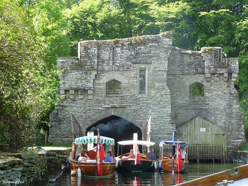 Historic buildings and steam boats on Lake Windermere