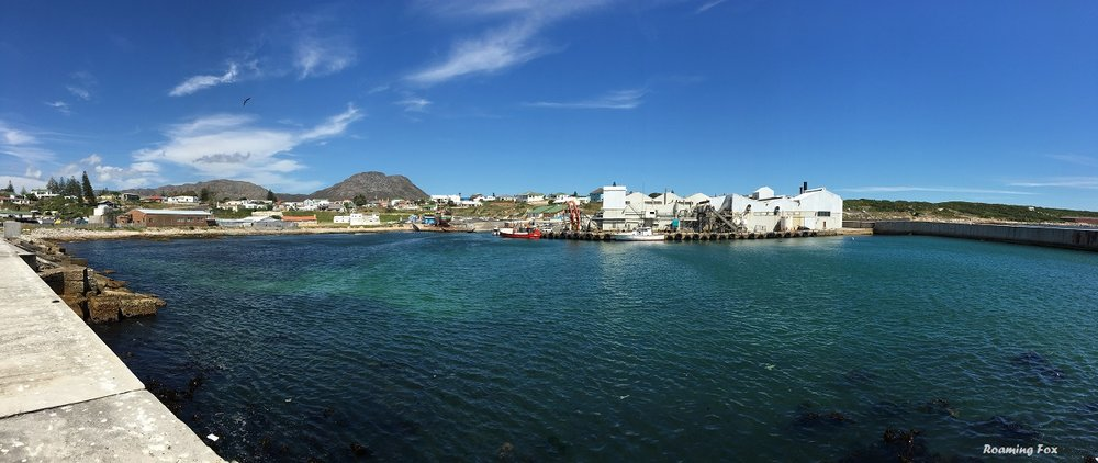 Panoramic view Gansbaai over old harbour
