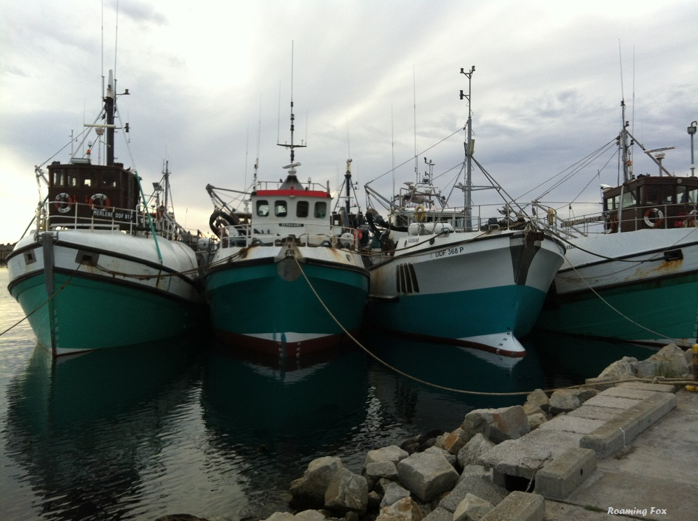 Fishing trawlers anchored in the new harbour in Gansbaai