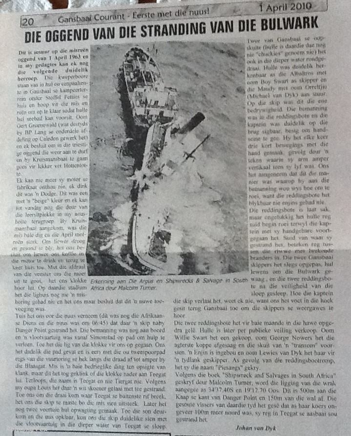 Newspaper clipping Gansbaai Courant 2010 of Bulwark shipwreck in 1963
