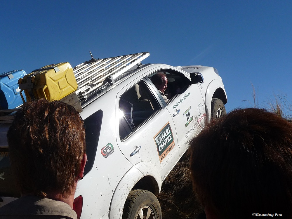 Andre de Villiers driving over steep mound 4x4.JPG