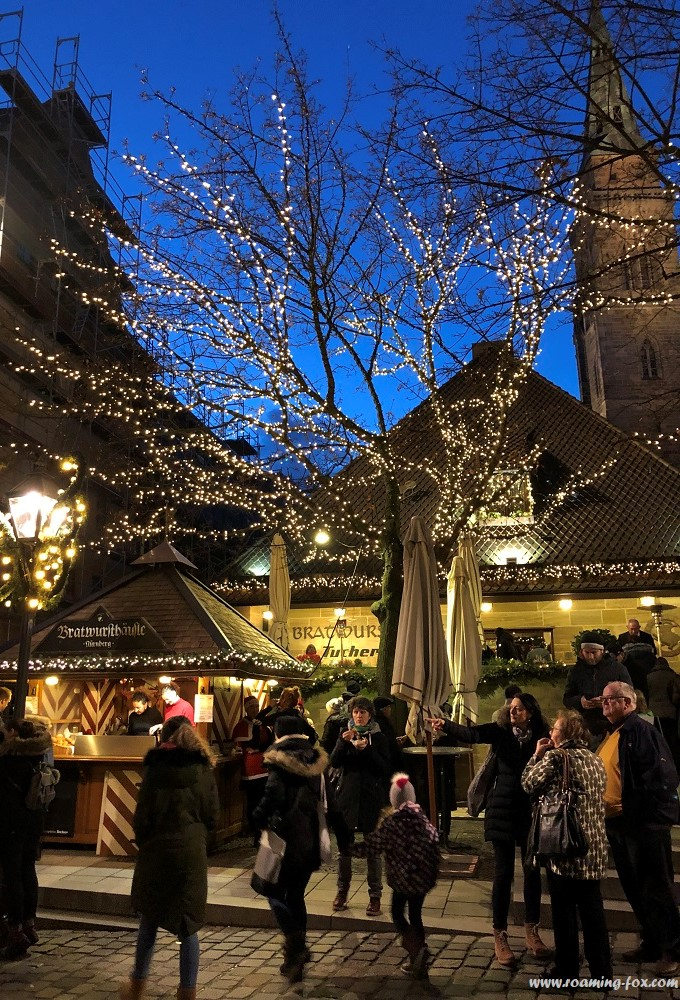 Food stalls at the Christmas market in Nuremberg