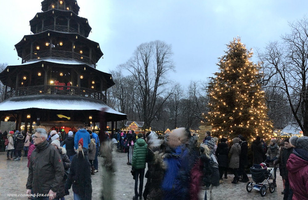 Chinese tower at the Christmas Market or Weihnachtsmarkt in the English Garden