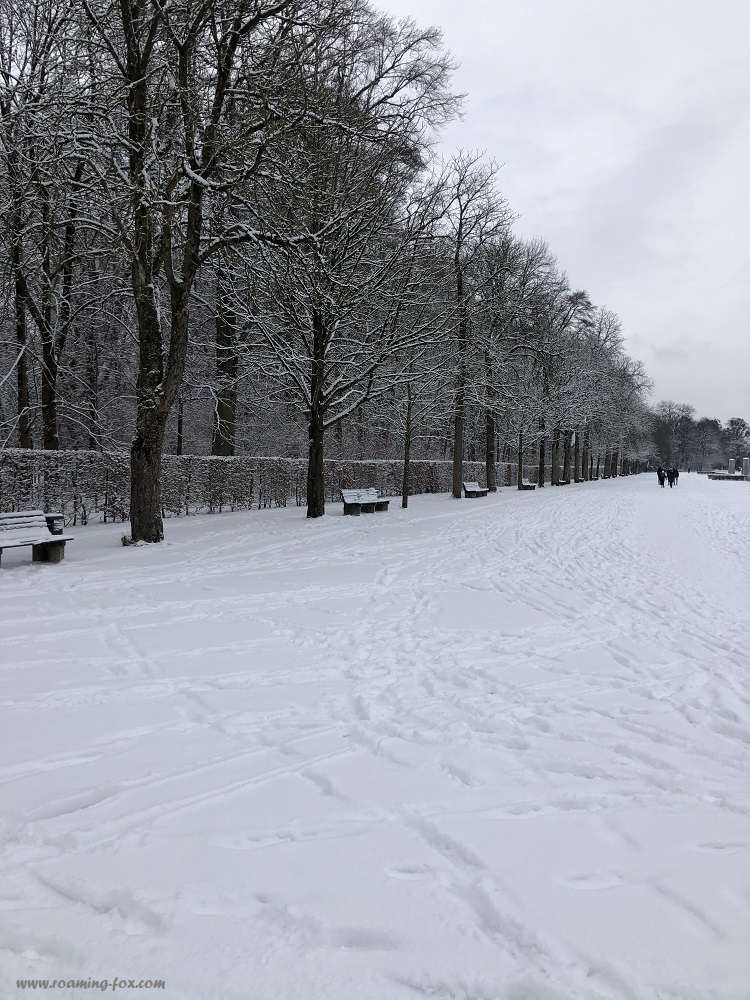 Thick snow in the Nymphenburg Palace gardens