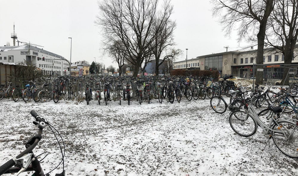 A multitude of bicycles at the Rosenheim station