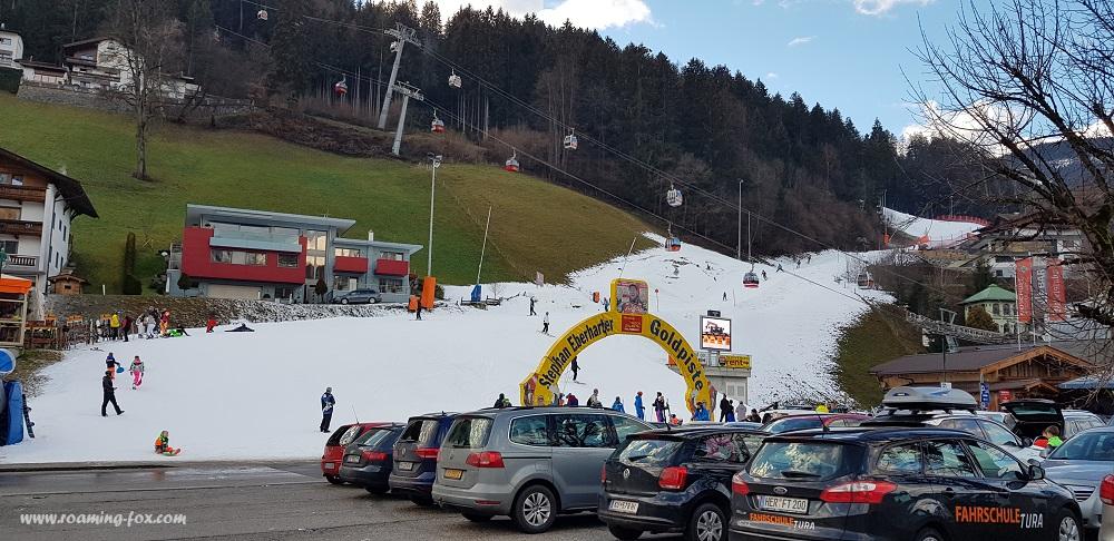 End of the ski run at Zillertal Valley Tirol