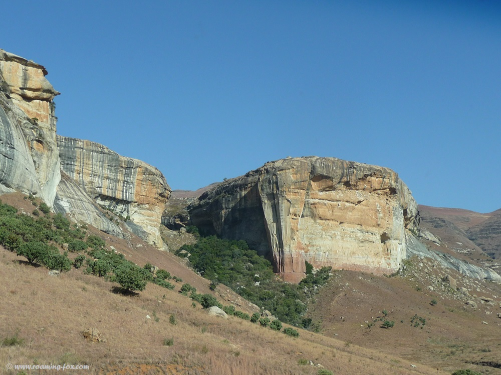 Sedimentary sandstone at the foothills of the Maluti Mountains