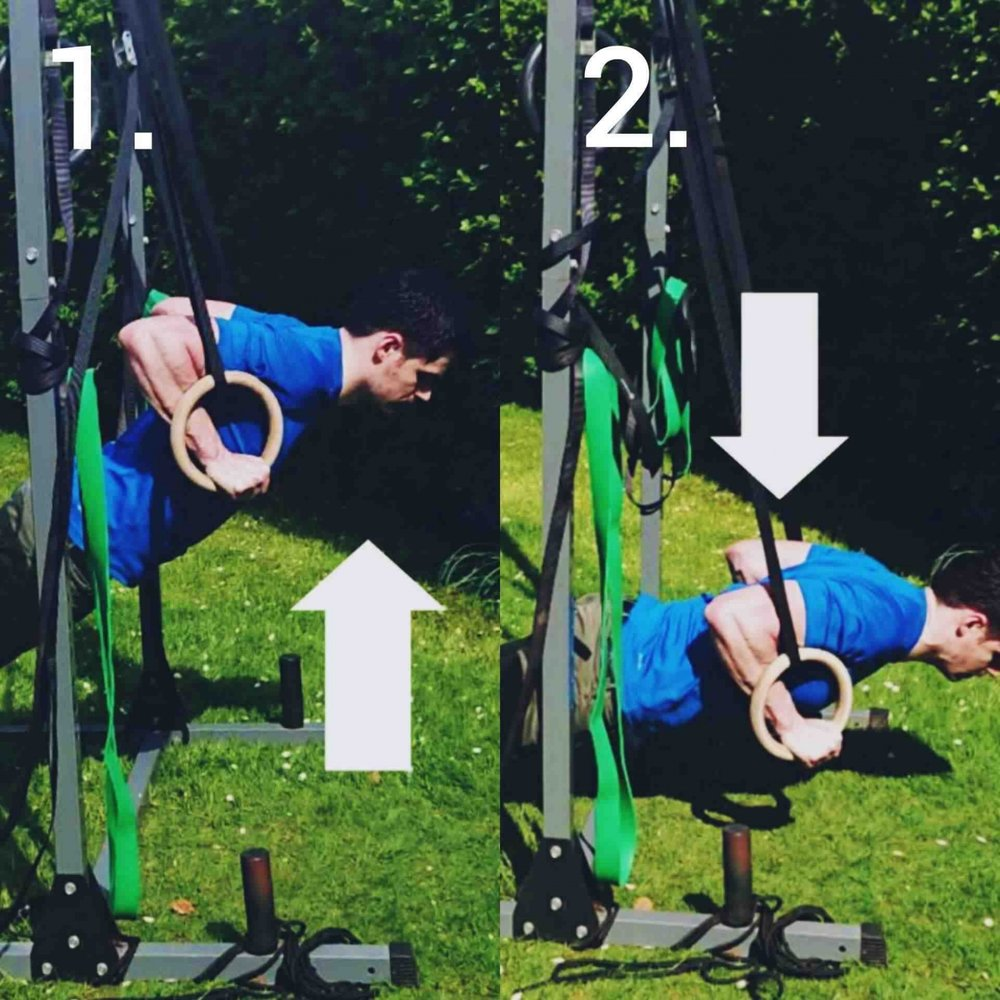 1. The first image the straps are shorter which scales down the intensity of the exercise for beginners.    2. In the second image the rings are lowered closer to the ground for more intensity and a higher muscular engagement,