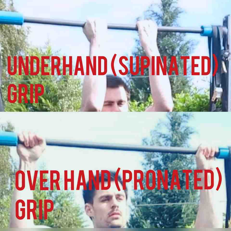 1st frame is a chin up with palms facing towards. 2nd frame is a pull up with palms facing away.