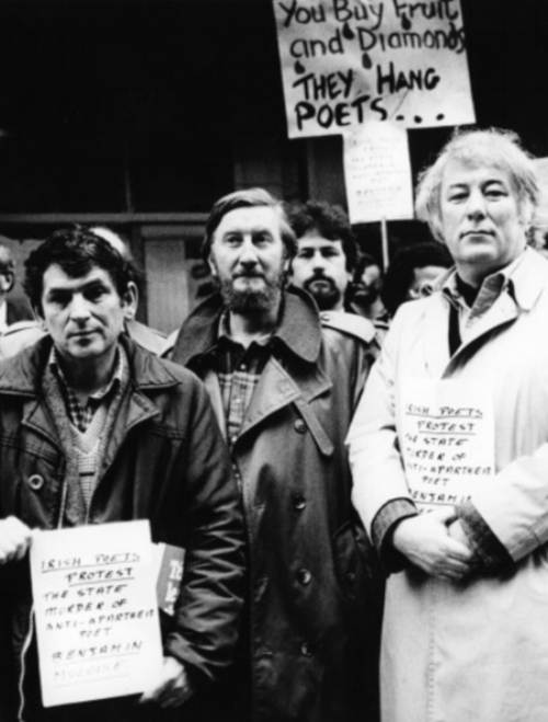 Seamus Heaney (right) at an anti-apartheid demonstration in Dublin, 1985, protesting at the import of South African fruit by Dunnes Stores.