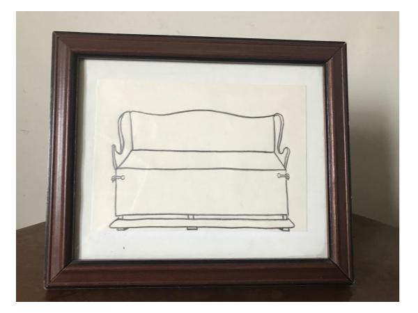 The original drawing of the settle bed, used for Seamus Heaney's Christmas card in 1990 (seen below).