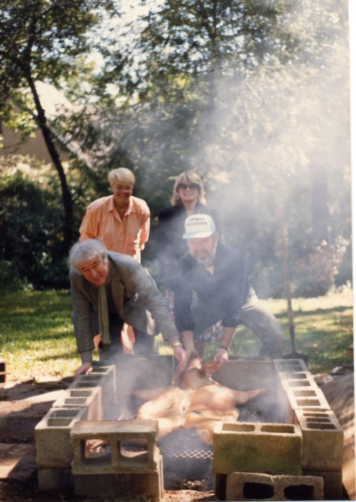 Seamus Heaney and Ronald Schuchard (front), with Keith Schuchard and Marie Heaney at the barbecue pit.