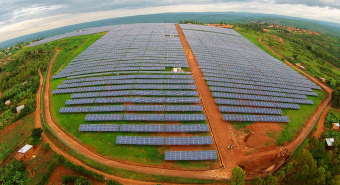 A new solar plant, built in the shape of the African continent, provides six percent of the country's electricity.  (Photo by Clean Technica)