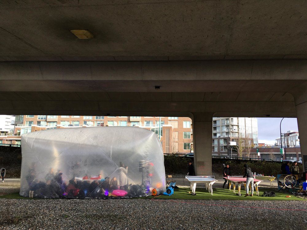 POP! a rainy day refuge and ping-pong stop under the Cambie Street Bridge in Vancouver.  (Image courtesy of Haley Roeser.)