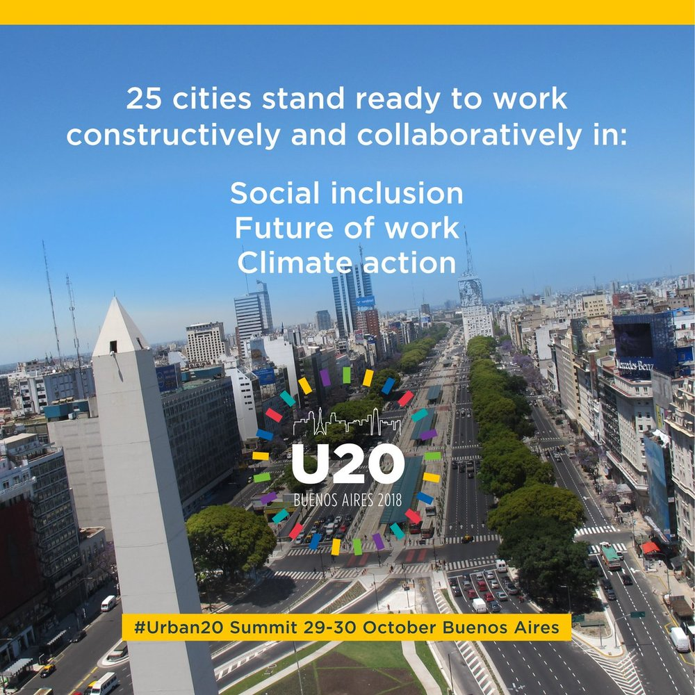 One of many UCLG-sponsored advertisements about the U20 features the Buenos Aires skyline.  (Source:  UCLG )