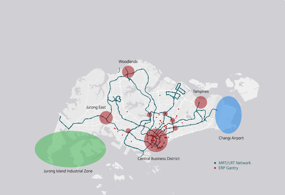 The strategic distributution of Singapore's transport, residential and industrial infrastructure  (Source: Geospatial data on current transport infrastructure drawn from data.gov.sg)